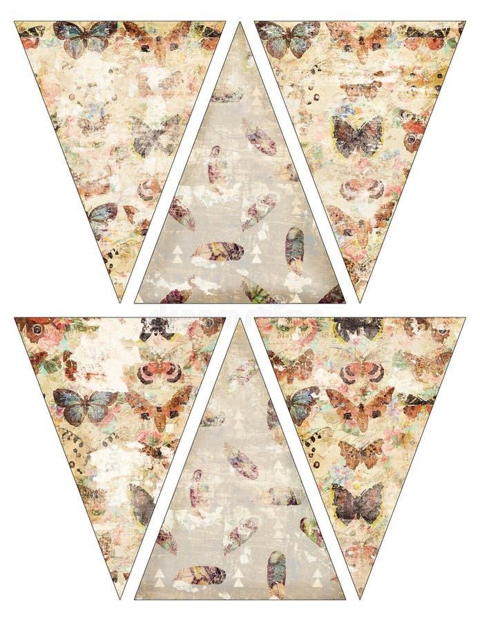 Banderas imprimibles de la guirnalda del empavesado de la bandera del estilo del vintage de DIY con las mariposas y las plumas stock de ilustración