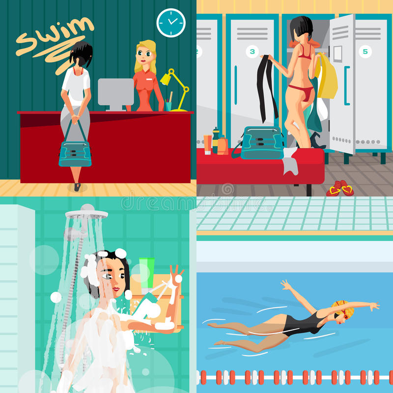 Banderas interiores del concepto de la piscina stock de ilustración