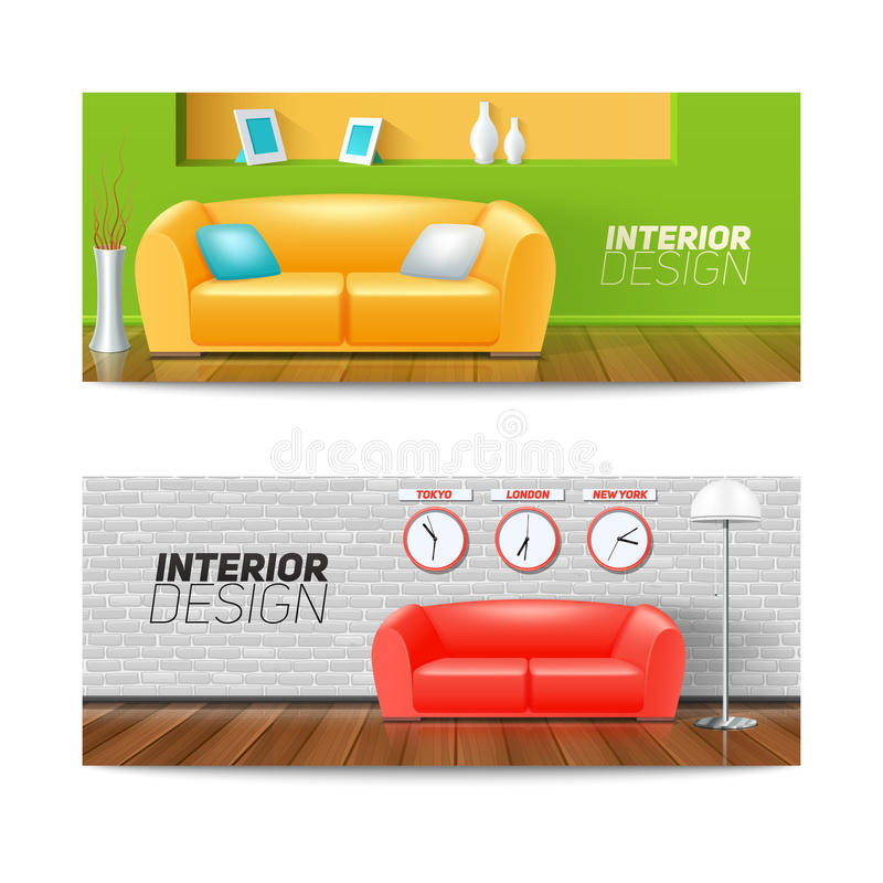 Banderas interiores fijadas libre illustration