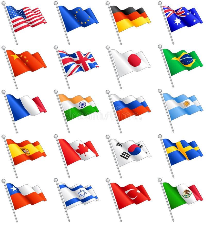 Banderas internacionales del vector fijadas libre illustration