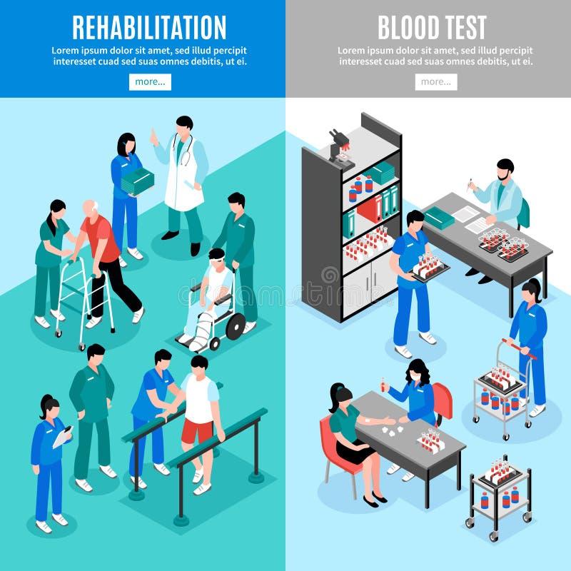 Banderas isoméricas verticales del hospital fijadas stock de ilustración