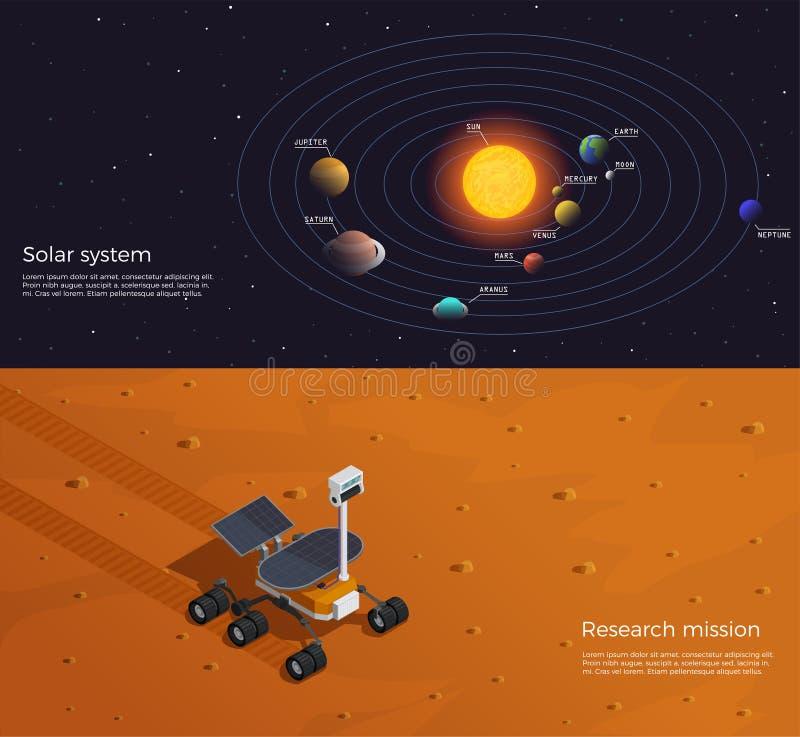 Banderas isométricas de la colonización de Marte libre illustration