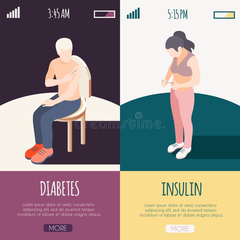 Banderas isométricas de la diabetes ilustración del vector