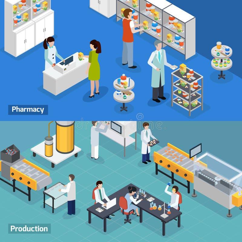 Banderas isométricas de la producción 2 farmacéuticos stock de ilustración