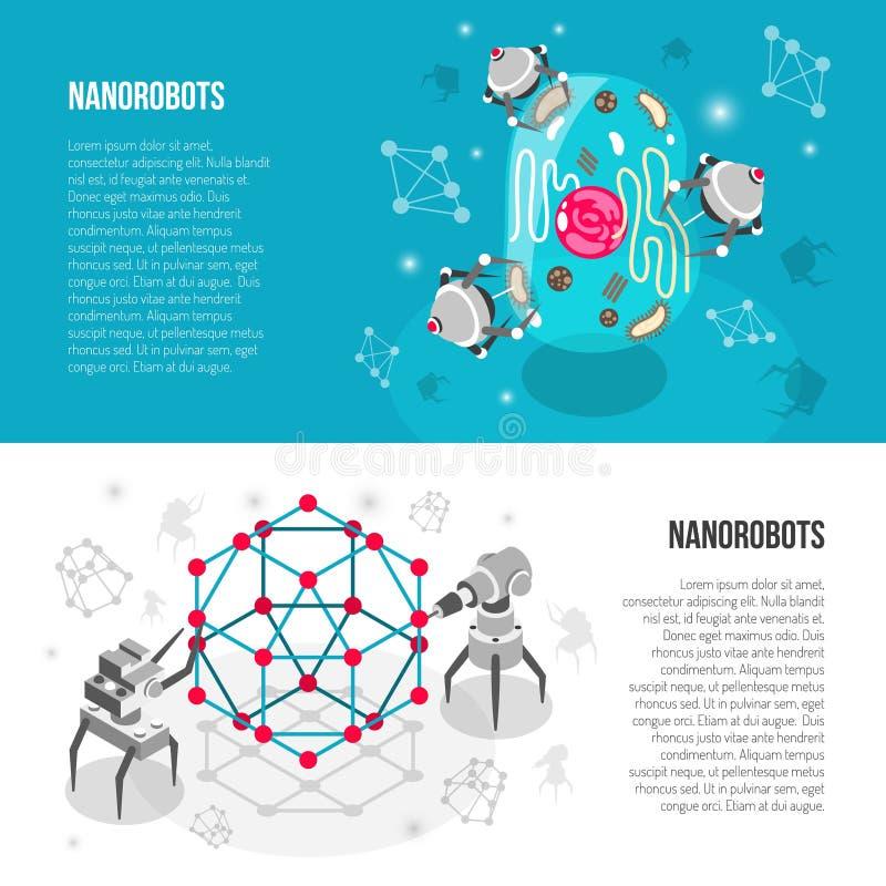 Banderas isométricas de los robots nanos stock de ilustración
