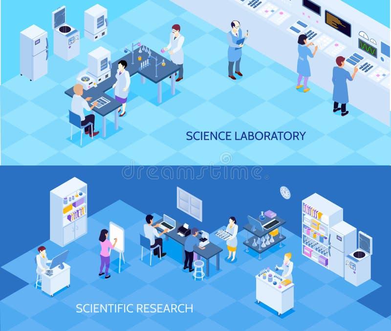 Banderas isométricas del laboratorio de ciencia stock de ilustración