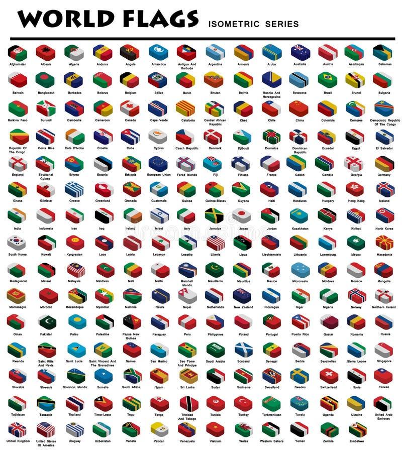 Banderas isométricas del mundo ilustración del vector