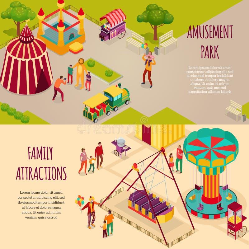 Banderas isométricas del parque de atracciones stock de ilustración