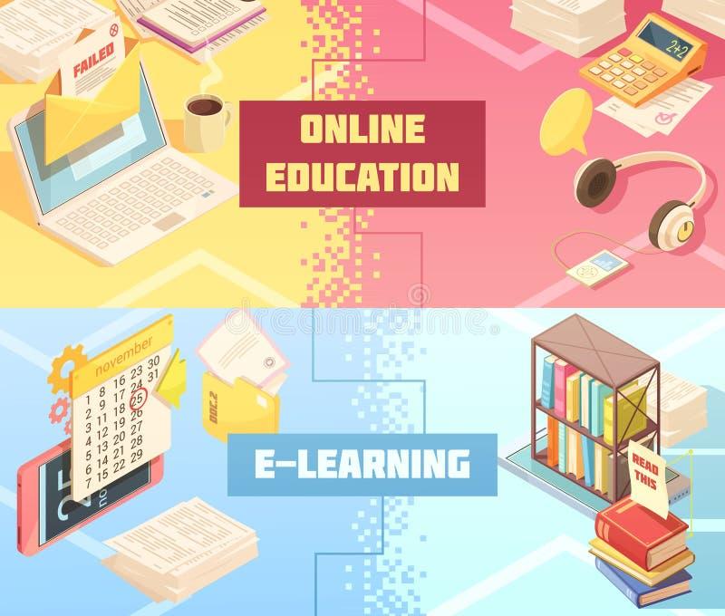 Banderas isométricas horizontales de la educación en línea libre illustration