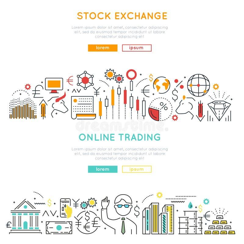 Banderas lineares del mercado de acción ilustración del vector