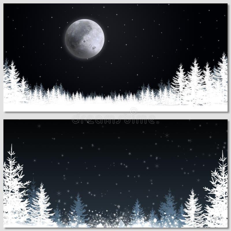 Banderas mágicas de la noche de la Navidad stock de ilustración