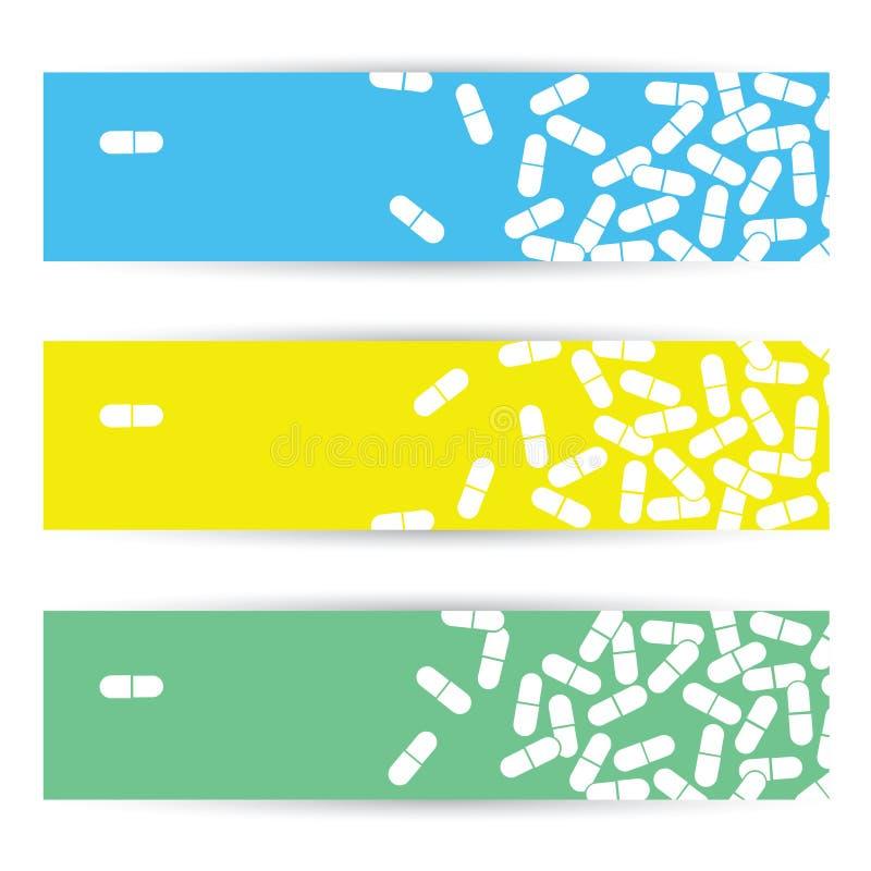 Banderas médicas con las píldoras libre illustration