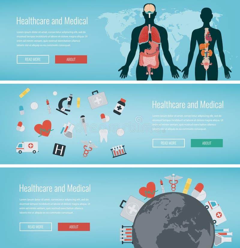 Banderas médicas fijadas Atención sanitaria y concepto médico Banderas del web con los iconos médicos Vector ilustración del vector