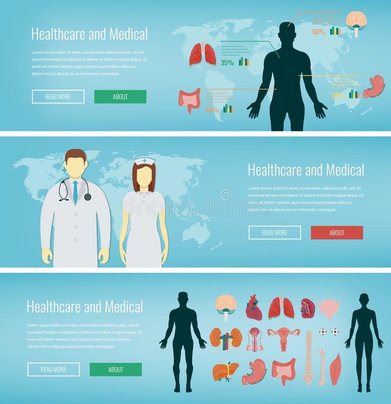 Banderas médicas fijadas Atención sanitaria y concepto médico Banderas del web con los iconos médicos Vector libre illustration