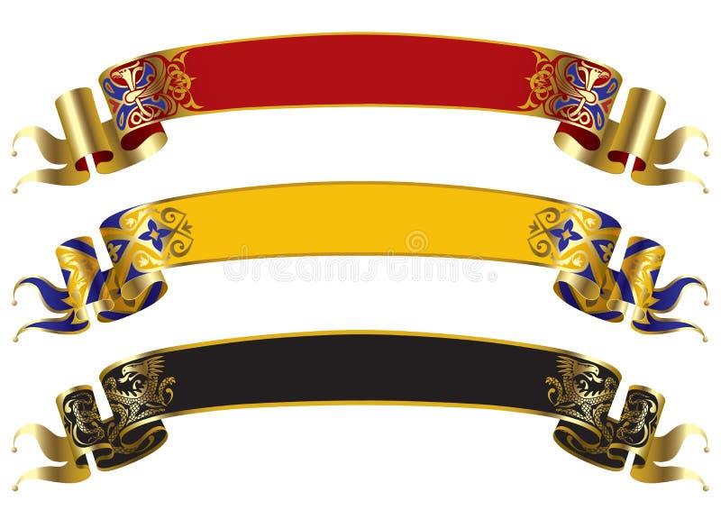 Banderas medievales stock de ilustración