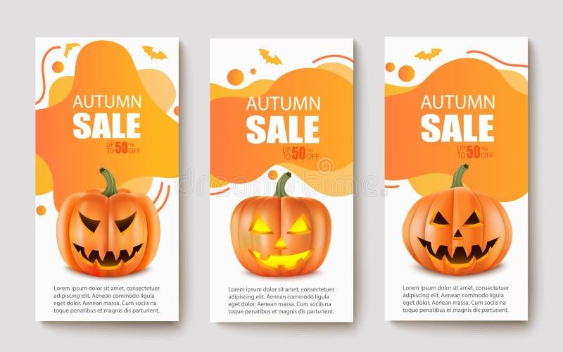 Banderas modernas abstractas con las calabazas realistas Para el otoño y la venta de Halloween Ilustraci?n del vector stock de ilustración
