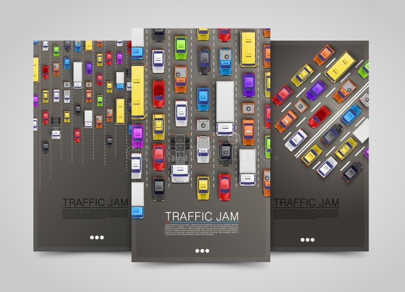 Banderas modernas de la vertical del transporte Sistema del aviador del camino Infographics del atasco stock de ilustración