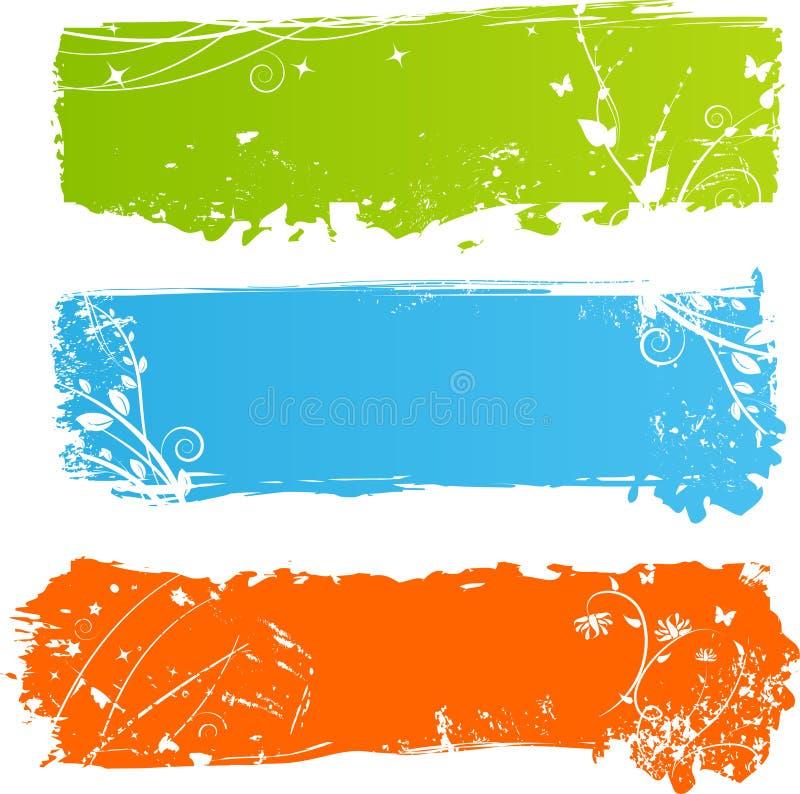 Banderas multicoloras sucias con florals ilustración del vector
