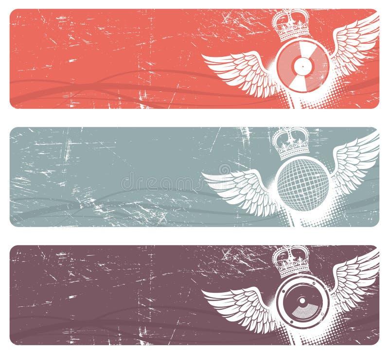 Banderas musicales stock de ilustración