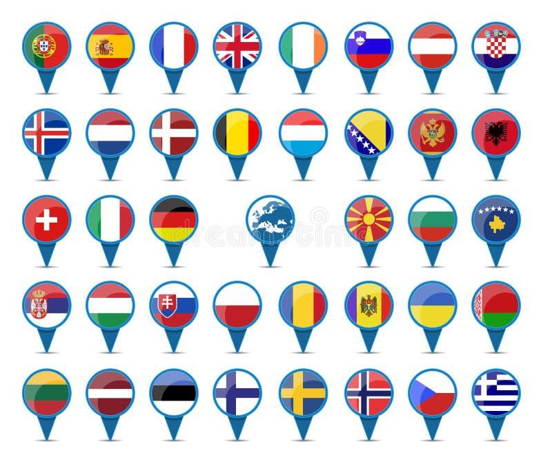 Banderas nacionales de Europa libre illustration