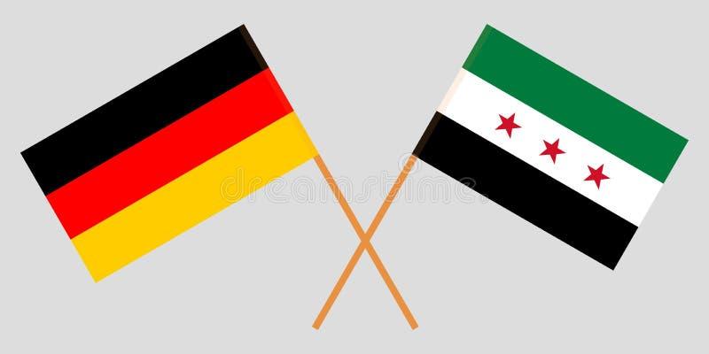 Banderas nacionales sirias cruzadas de la coalición y de Alemania Colores oficiales Proporción correcta Vector ilustración del vector