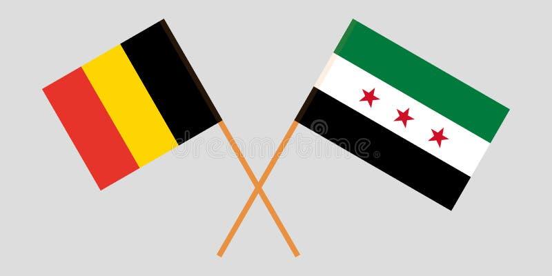 Banderas nacionales sirias cruzadas de la coalición y de Bélgica Colores oficiales Proporción correcta Vector stock de ilustración