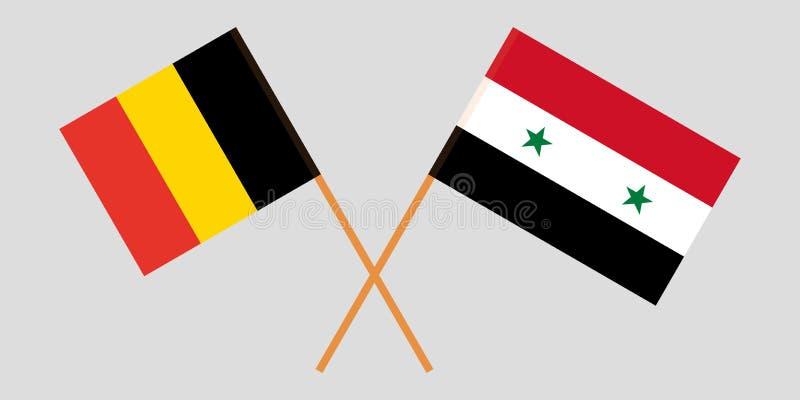 Banderas nacionales sirias cruzadas de la coalición y de Bélgica Colores oficiales Proporción correcta Vector ilustración del vector