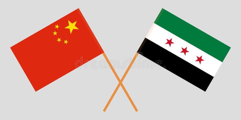 Banderas nacionales sirias cruzadas de la coalición y de China Colores oficiales Proporción correcta Vector ilustración del vector