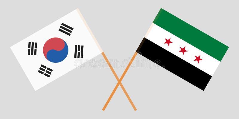 Banderas nacionales sirias cruzadas de la coalición y de la Corea del Sur Colores oficiales Proporción correcta Vector libre illustration