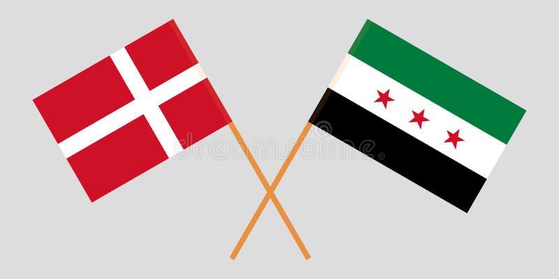 Banderas nacionales sirias cruzadas de la coalición y de Dinamarca Colores oficiales Proporción correcta Vector libre illustration