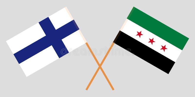 Banderas nacionales sirias cruzadas de la coalición y de Finlandia Colores oficiales Proporción correcta Vector ilustración del vector