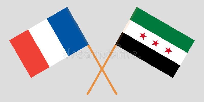 Banderas nacionales sirias cruzadas de la coalición y de Francia Colores oficiales Proporción correcta Vector stock de ilustración