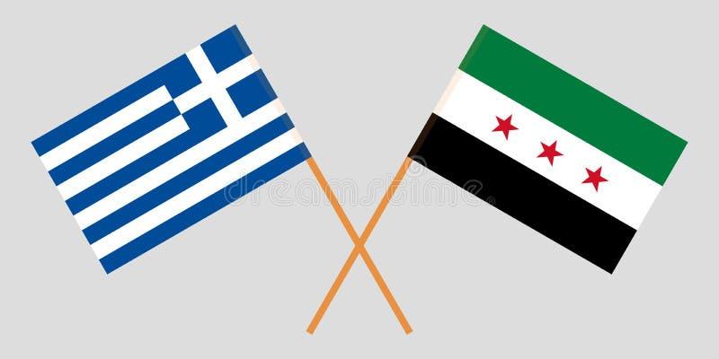 Banderas nacionales sirias cruzadas de la coalición y de Grecia Colores oficiales Proporción correcta Vector libre illustration