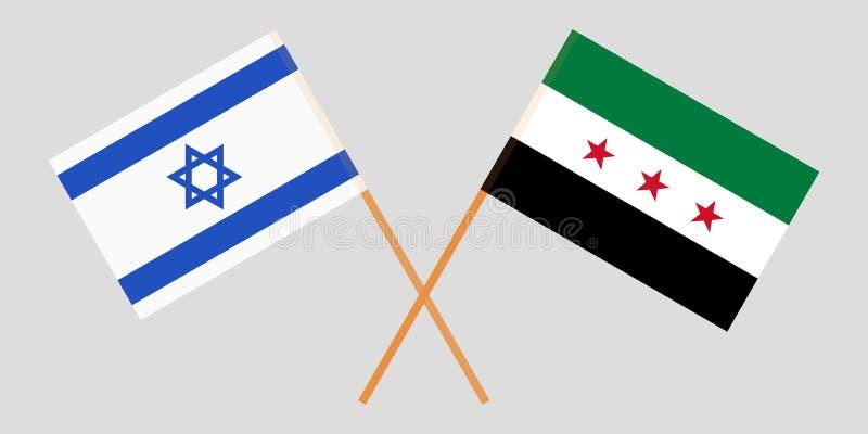 Banderas nacionales sirias cruzadas de la coalición y de Israel Colores oficiales Proporción correcta Vector ilustración del vector