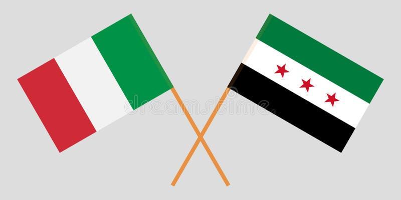 Banderas nacionales sirias cruzadas de la coalición y de Italia Colores oficiales Proporción correcta Vector stock de ilustración