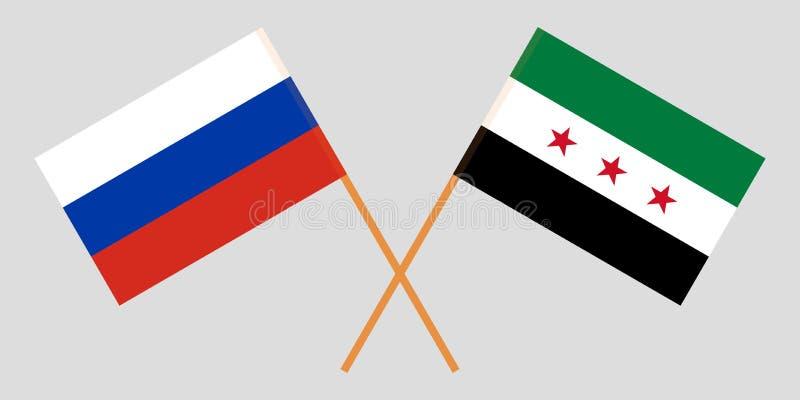 Banderas nacionales sirias cruzadas de la coalición y de Rusia Colores oficiales Proporción correcta Vector libre illustration