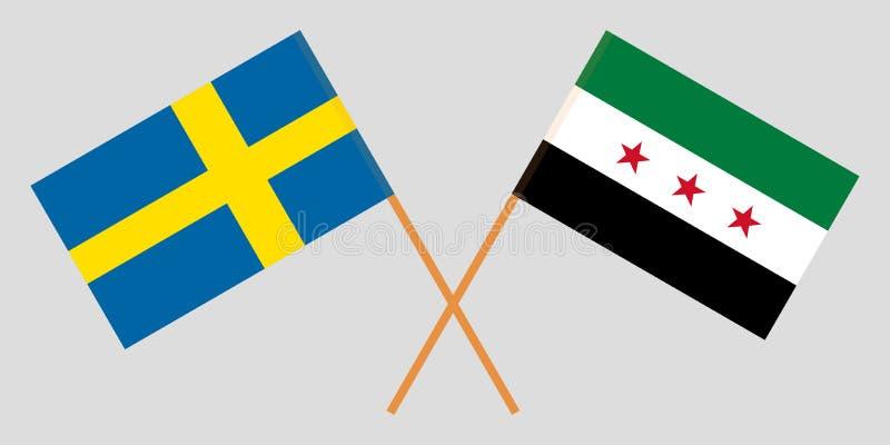 Banderas nacionales sirias cruzadas de la coalición y de Suecia Colores oficiales Proporción correcta Vector ilustración del vector