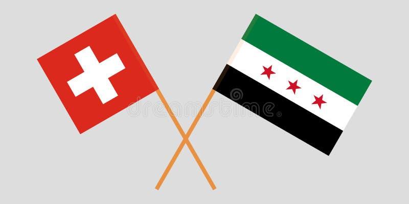 Banderas nacionales sirias cruzadas de la coalición y de Suiza Colores oficiales Proporción correcta Vector stock de ilustración