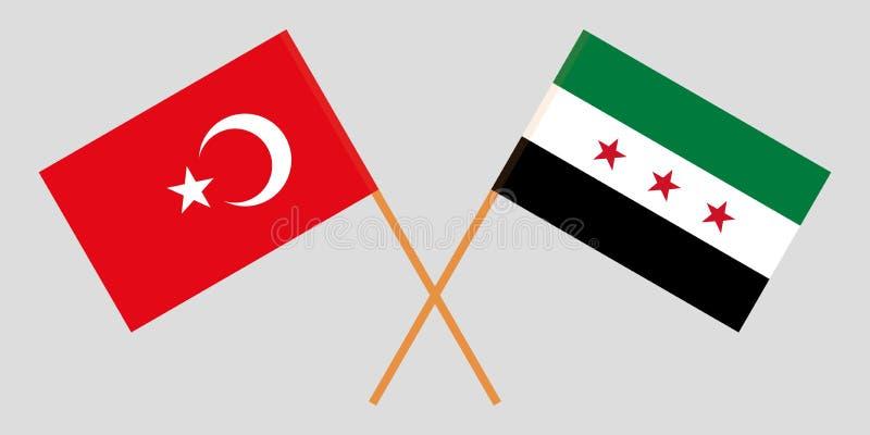 Banderas nacionales sirias cruzadas de la coalición y de Turquía Colores oficiales Proporción correcta Vector stock de ilustración