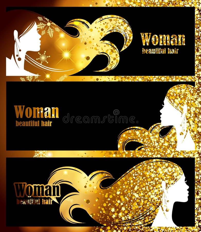Banderas negras, chispas brillantes del fondo de oro, resplandor de oro, pelo elegante de la silueta femenina hermosa decorat del ilustración del vector