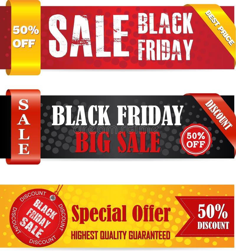Banderas negras de la venta de viernes stock de ilustración