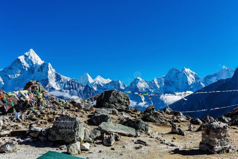 Banderas nepalesas coloridas fotografía de archivo libre de regalías