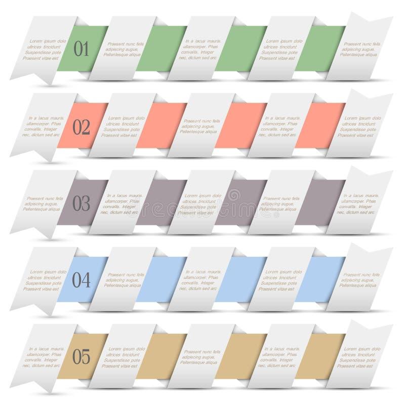 Banderas numeradas modernas en estilo del origami ilustración del vector