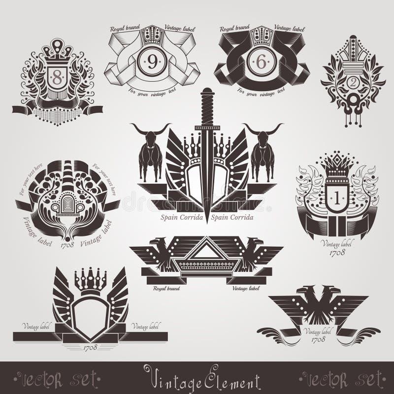 Banderas o etiquetas del grabado del vintage con el toro y el modelo del águila de la planta ilustración del vector