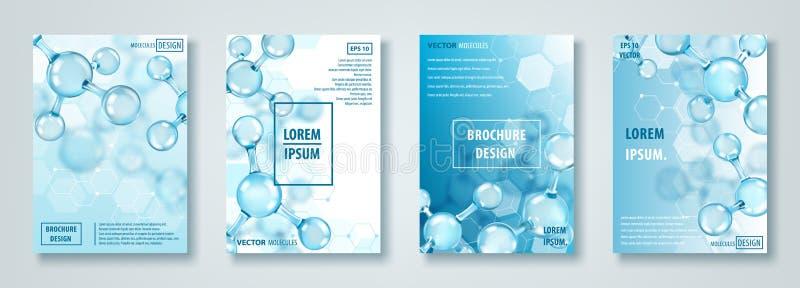 Banderas o folletos con diseño abstracto de las moléculas átomos Fondo médico para la bandera o el aviador stock de ilustración