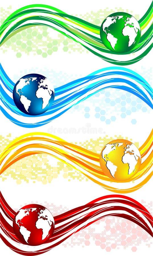 Banderas onduladas coloridas determinadas ilustración del vector