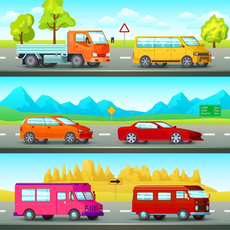 Banderas ortogonales de los coches fijadas ilustración del vector