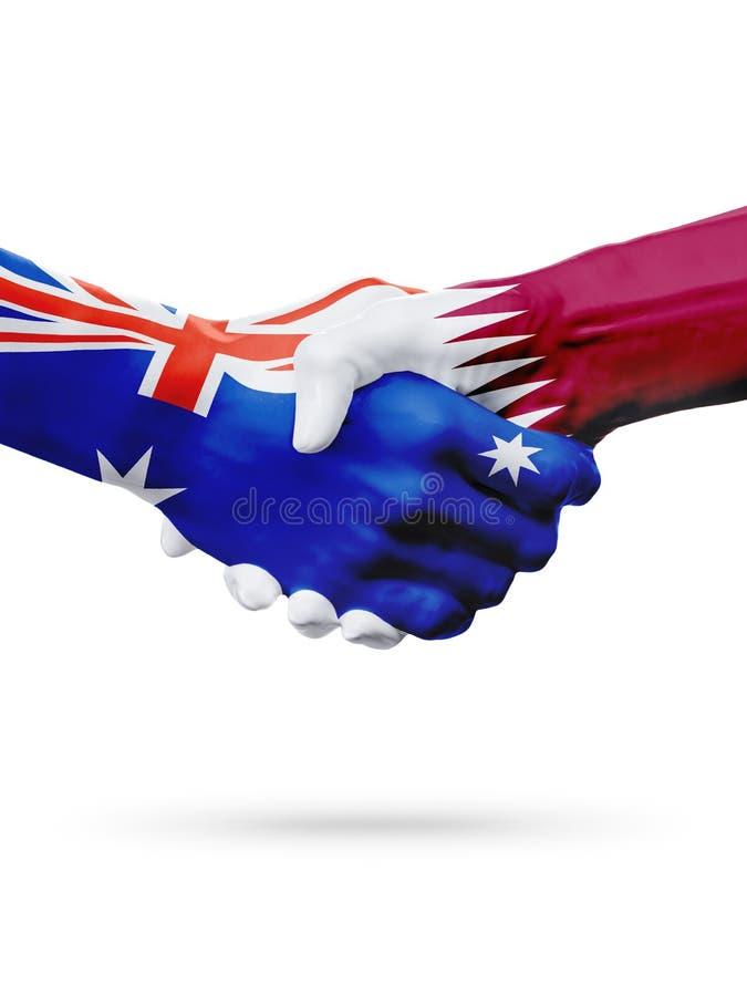 Banderas países de Australia, Qatar, amistad de la sociedad, equipo de deportes nacional imagen de archivo libre de regalías
