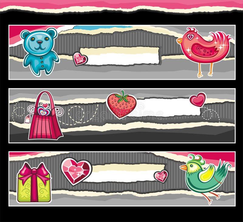 Banderas para el día de tarjeta del día de San Valentín. ilustración del vector
