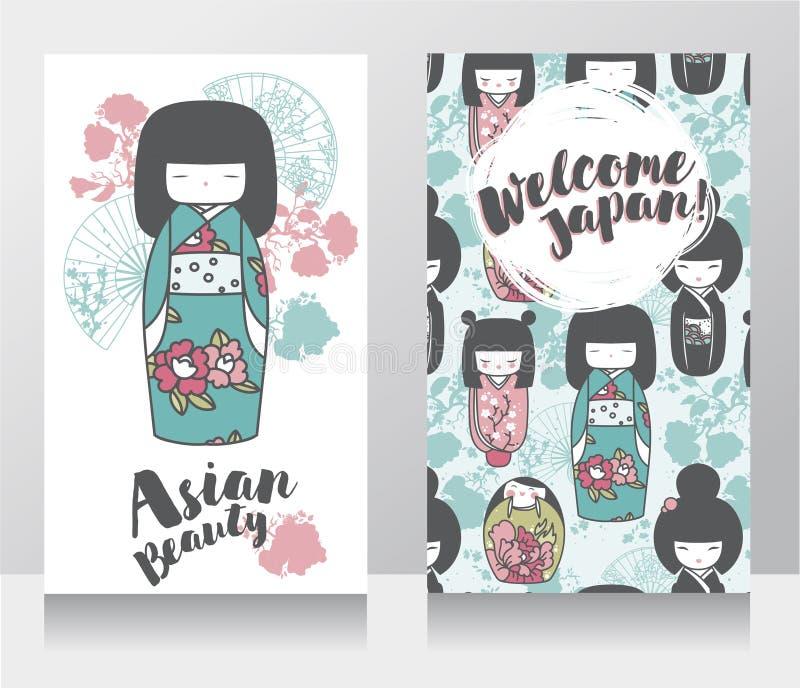 Banderas para la belleza y los viajes asiáticos con las muñecas de madera asiáticas tradicionales - kokeshi - y flores de Sakura stock de ilustración